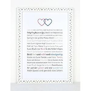Geschenk Geburt Zwillinge - Personalisiertes Bild mit Rahmen für Babies und Neugeborene - Geschenkidee z.B. als Gastgeschenk zur Geburt - Variante für Bruder und Schwester