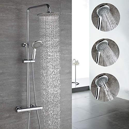 HOMELODY Chrom Duschsystem Thermostat Duschset Regendusche Duscharmatur Duschsäule mit Drei-Strahlen Handbrause inkl. Überkopfbrause Duschstange