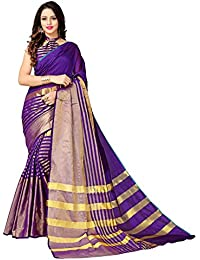 Glory Sarees Women's Cotton Silk Saree(jari199_purple)