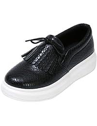 Y-BOA Chaussures Bateau Casual Ville Cuir PU Mocassins Femme Fille Derbies Plateforme Bureau