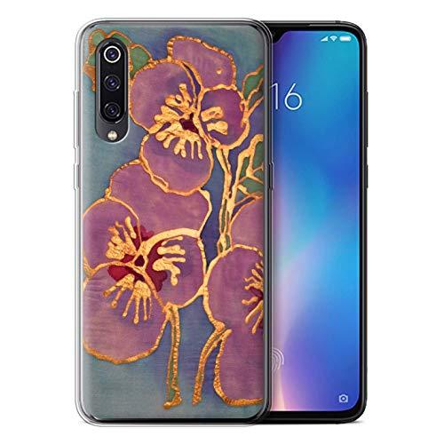 eSwish - Carcasa para teléfono móvil, diseño Floral Morado/Azul Xiaomi Mi 9 (2019)