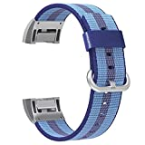 #8: Iloft® Woven Nylon Replacement Watch Bands strap for Fitbit Charge 2. (Blue)