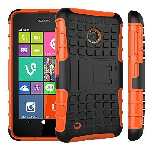 Qiaogle Telefon Case - Shockproof TPU + PC Hybrid Ständer Schutzhülle Case für Nokia Lumia 530 (4.0 Zoll) - HH08 / Orange (Nokia Lumia 530 Case Hybrid)