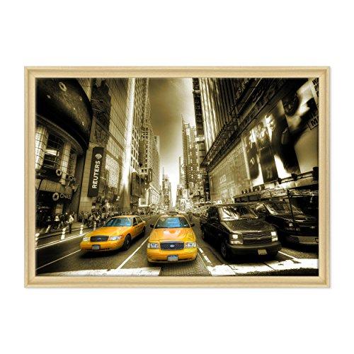 Bild auf Leinwand Canvas-Gerahmt-fertig zum Aufhängen-New York Times Square-NY City USA Amerika-Taxi gelb Dimensione: 70x100cm C - Colore Legno Naturale Contemporaneo