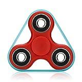 VAPIAO Fidget Tri (dreifach) Spinner Special Version mit 4 Hochleistungs Kugellagern mit fluoreszierendem Gummiband Anti Stress Kreisel Hand Spielzeug in Rot