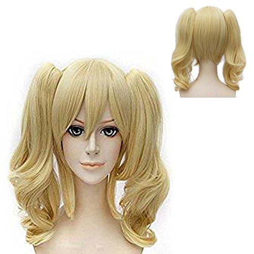 ATAYOU® Frauen Lange Lockige Blonde Anime Cosplay Perücken Für Frauen Mit Trauben 2 Pferdeschwänze (Blond)