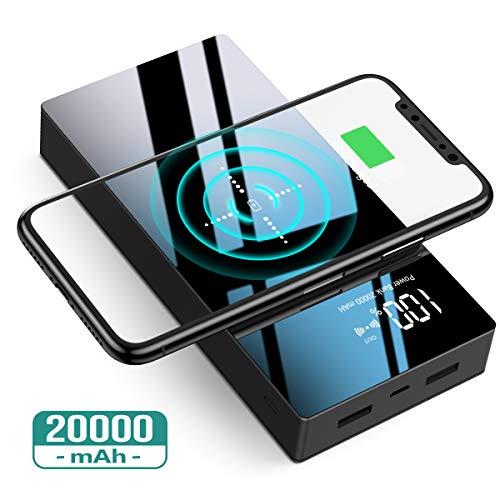 TOVAOON Wireless Powerbank,20000mAh Externer Akku Pack,Tragbares Ladegerät hohe Kapazität,mit LED-Digitalanzeige und die Hartglas Panel,für iPhone iPad Samsung Galaxy,usw(Schwarz)