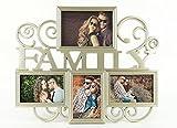 levandeo FAMILY Bilderrahmen für 4 Fotos inklusiv Schrauben Farbe: Gold