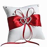Hosaire 1x Hochzeit Ringkissen Schleife Diamant Doppel Herz Form Hochzeit Ring Kissen Dekoration Rings Pillow