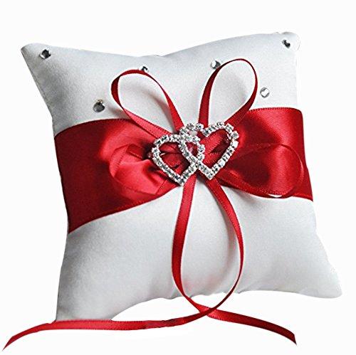 Ringkissen Schleife Diamant Doppel Herz Form Hochzeit Ring Kissen Dekoration Rings Pillow ()