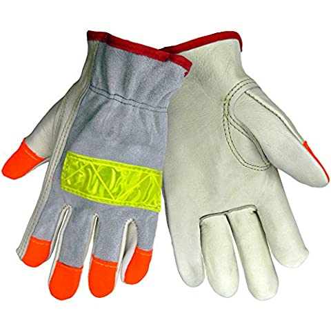 Global Glove 3200HV Cow Grain Leather Premium Grade High Visibility Driver Glove, Work, 2X-Large, Orange/Yellow (Case of