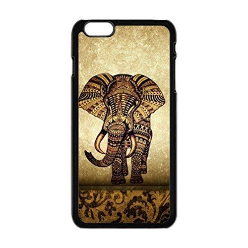 Vintage Zeitung Elephant Aztec Floral Trunk Design Classic stylisches Gummi Silikon Schwarz Handys Schutzhülle Cover für iPhone 6Plus 14cm Zoll Cover (Trunk Floral)