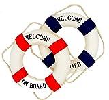 2 Maritime Deko Rettungsringe Welcome on Bord Blau/Weiss und Rot/Weiss- Fischernetzdekoration - Meeresdekoration - Maritime Dekoration - 14cm Durchmesser je Ring - Styropor mit Baumwollüberzug