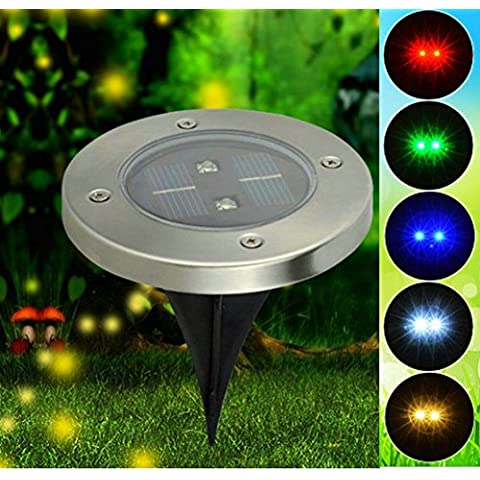 irunzo impermeable Estaca LED Solar Luces Lámparas Jardín Calzada Camino Patio Césped Flores Acero Inoxidable de 2LED Sensible a la