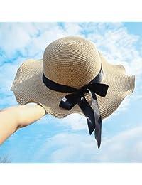 Hongyan Cappello di paglia Donna estate Piumino pieghevole Pieghevole  Facile da trasportare Spiaggia Outdoor Cappello da sole Parasole… 9fe1f1baa689