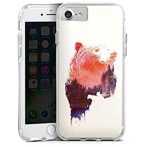 Apple iPhone 7 Bumper Hülle Bumper Case Glitzer Hülle Baer Bear Natur Bumper Case transparent