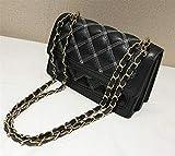 Kangqi Elegante Kupplungen Sewn Thread Rhombic Chain Einzelner Schulter-Kurier-Umschlag-Paket (Schwarzes)