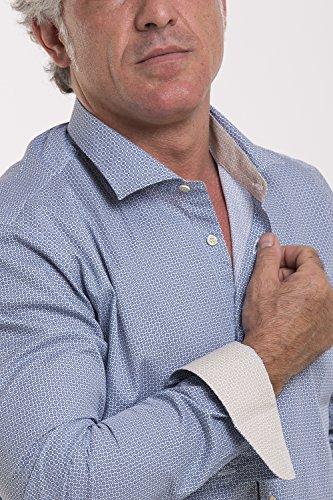 Atelier Boldetti - Camicia Uomo con Stampa Geometrica, Slim Fit Blu Beige