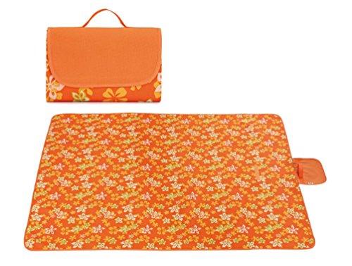 Brinny Picknickdecke Wasserdicht 145 x 200 cm Tragbar Outdoor picknickmatte im Freien Stranddecke Campingdecke Tischdecke Pour Reise Rasen Gärten - Orange Blume (Orange-blumen-tischdecke)