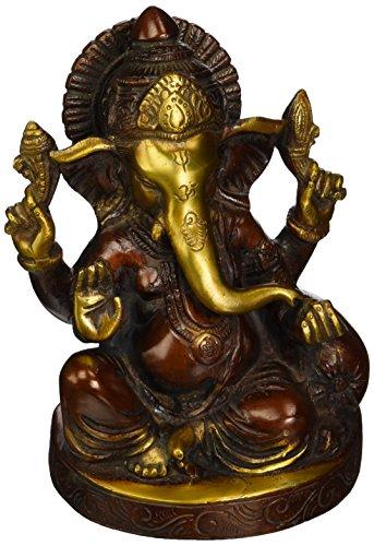 statuestudio sitzend Messing indischen Kunsthandwerk Ganesha Statue Hinduismus Religiöse Figur 15,2cm