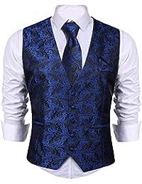 iClosam Gilet Homme Mariage 3pieces Veste Homme Suit Ensemble sans Manche  avec Coffrets Cravate et Mouchoir Casual Mariage Business… b61d09a876da