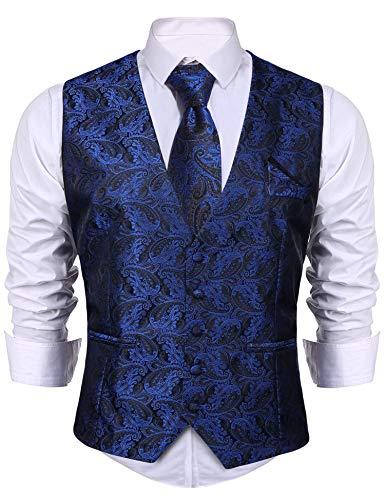 iClosam Herren Anzugweste & Krawatte & Taschentücher 3 Stück Slim Fit Westen Set Für Anzug Business Hochzeit. (Blau, XX-Large)