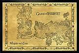 Game of Thrones Poster Westeros & Essos Karte Antik (96,5x66 cm) gerahmt in: Rahmen schwarz