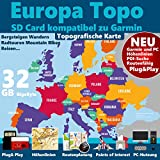 ★EUROPA Garmin Karte OutdoorTopo auf 32 GB microSD Höhenlinien microSD für Garmin Montana 600, Montana 610, Montana 610t Camo ★