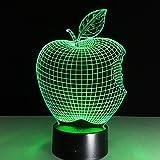 OOFAY LIGHT® 3D LED Nachtlicht Lampe Apple Optical Illusion Touch 7 Farbwechsel mit Acryl-Flat, ABS-Kunststoff-Basis, USB-Ladegerät Tisch Schreibtisch Schlafzimmer Dekoration Licht