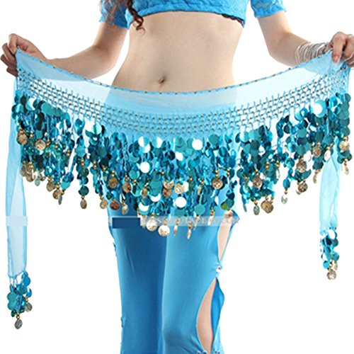 Kostüme Dance 80's (Damen Bauchtänzerin Kostüm Hip Scarf Wrap Sequins Gürtel 58 Coin Chiffon)