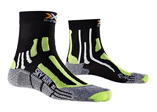 X-Socks Sky Run Two, Calze Uomo, Nero/Verde Lime/Moulinè, 45/47