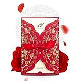 Hochzeits-Einladungen, Wishmade Laser-geschnittene Hochzeits-Einladungen, Karten, rot, mit Spitze, aus Karton, für Baby-Shower-Party, Verlobung, Geburtstag, Party-20