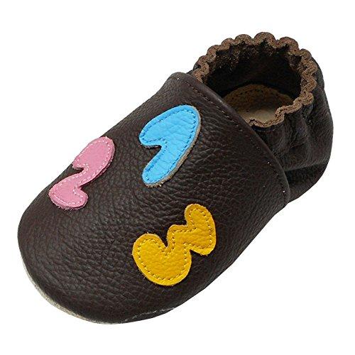 Yalion Baby Weiche Leder Lauflernschuhe Krabbelschuhe Hausschuhe Lederpuschen mit 123 und ABC (24/25, Dunkelbraun)