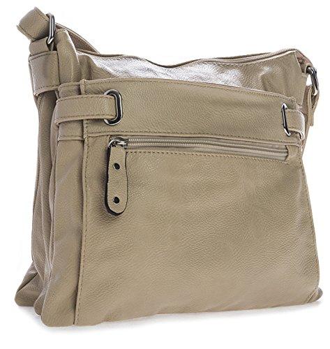 Big Handbag Shop mittelgroße Damen Schultertasche Cross Body Umhängetasche Light Beige