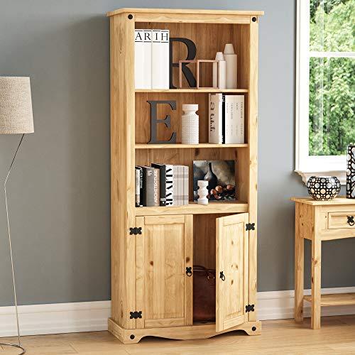 Home Discount Corona Bücherregal 2tür Display Einheit Kiefer massiv Holz Distressed gewachst