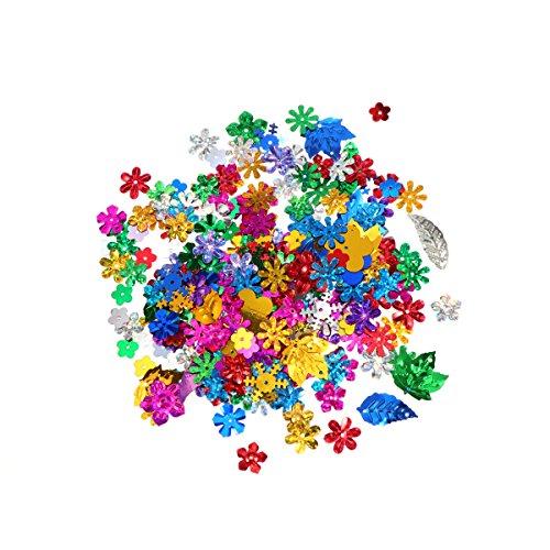 Tinksky 50 gramos Lentejuelas coloridas confeti con brillo multicolor para manualidades y decoración de bricolaje (color mezclado)
