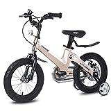 Bike Kinderfahrräder 12 Zoll 14 Zoll 16zoll 18zoll Magnesiumlegierungsmaterial Fahrräder Scheibenbremse Geeignet für Kinder zwischen 2 und 12 Jahren,Champagne,16in