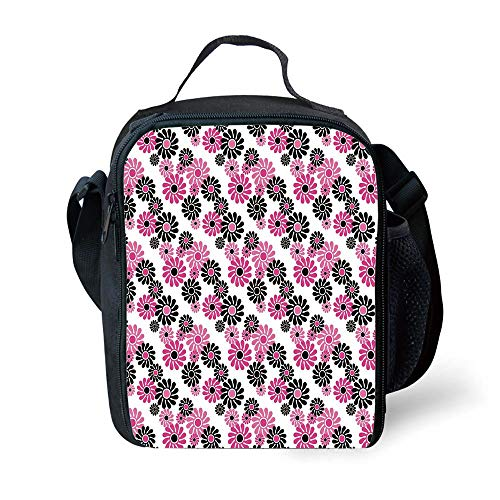 ZKHTO School Supplies Geometric,Feminine Floral Pattern Nature Inspired Old Fashioned Blooming Flowers Decorative,Hot Pink White Black for Girls or Boys Washable Palm Double Old Fashioned