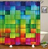 XMDNYE 3D-Druck Duschvorhang Abdichtung und Плесени Bad Vorhang mit Farbe Square Muster Enthält 12 Haken,150×180Cm