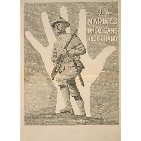 Vintage Stati Uniti Ww11914–18–Propaganda Uncle Sam da destra. Gli Stati Uniti Marines 250gsm Lucido Art poster A3di riproduzione
