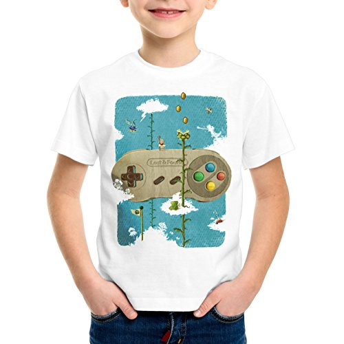 style3 16-Bit Nostalgie T-Shirt für Kinder SNES Mario super Kart 8-bit Yoshi, Größe:152