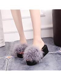SEX Winter Hausschuhe Frauen High Heel Soft Flauschige Pelz Schuh Slip Auf Warm Indoor Frau,Weiß , 38