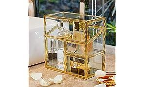 PuTwo Makeup Organisator Handgemachte Vintage Schmink Aufbewahrung Metall Glas Kosmetik Organizer für Mädchen & Frauen Wattepads Aufbewahrung Kosmetikpinsel Halter mit Kostenlosen Weißen Perlen - Gold