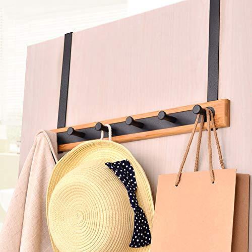 Ktol multifunction bambù appendiabiti da parete, acciaio inox appeso alla porta con 5 ganci attaccapanni muro autoadesivi impermeabile stabile per sciarpa-nero 6 ganci