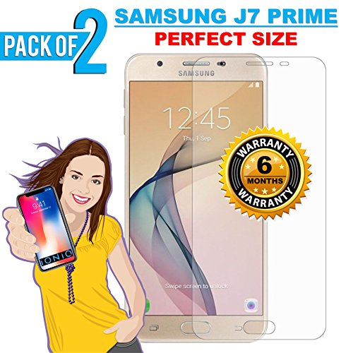 iONiQ Tempered Glass Screen Protector Guard for Samsung J7 Prime - Pack of 2