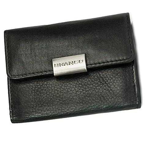 Kleine Geldbörse / Portemonnaie Größe S für Damen aus Leder, Schwarz, Branco 12032 (Schönes Portemonnaie)
