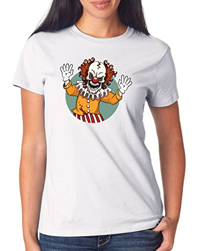 Evil Clown T-Shirt Girls White Certified Freak-L