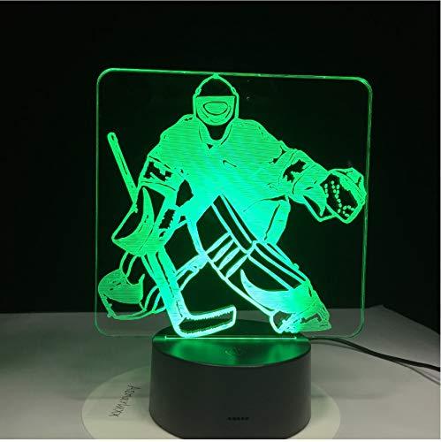 Nachtlicht 3D Optische Täuschung Lampe Eishockey-Spieler Bunte Led Usb Schlafzimmer Schlaf Beleuchtung Geschenke Für Kinder Dekoration