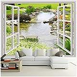 3D Wandbild Benutzerdefinierte Wandbild Tapete Moderne Einfache 3D Fenster Garten Kleine Fluss Blume Gras Fresko Wohnzimmer Schlafzimmer Foto Tapeten Silk Tuch 120X80cm,Ayzr