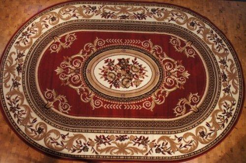 Gold Oval Teppich (Klassischer Oval Teppich Kurzflor Kollektion